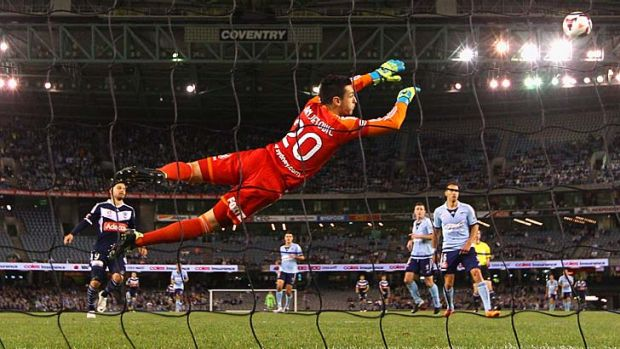 Sydney FC's  Vedran Janjetovic makes a spectacular save.