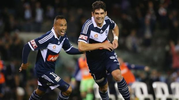 Gui Finkler of the Victory celebrates after scoring the winning goal against Sydney FC.