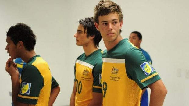 Dylan Tombides and teammates before a U-17 World Cup Group F match between Australia and Brazil in Mexico.