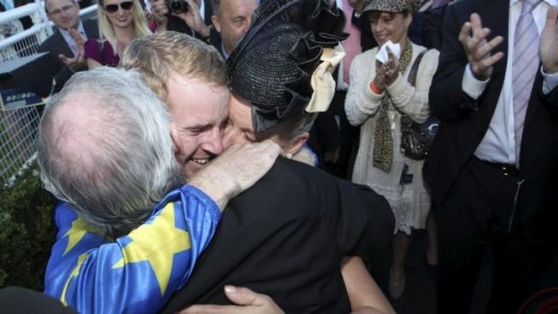 Emotional: Tom Berry celebrates victory in the Sydney Cup.