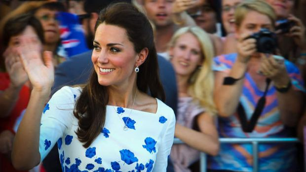 Catherine, Duchess of Cambridge greets people during a visit to South Bank.