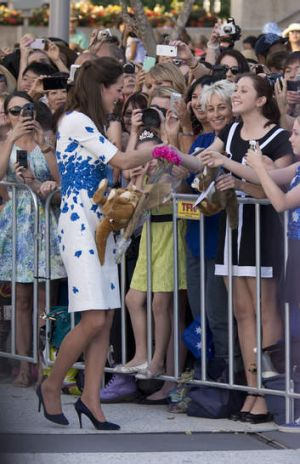Catherine, Duchess of Cambridge greets the crowd,