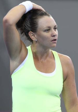 Casey Dellacqua reacts after missing a shot.