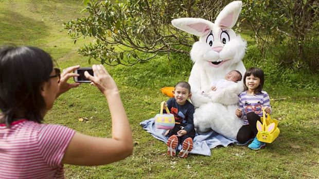 The ears have it: The Clonaris family from San Souci at the Easter egg hunt in Centennial Park on Saturday.