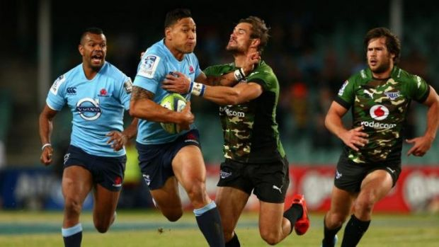 Welcome back: Israel Folau made an immediate impact in his return to the Waratahs.