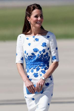 Catherine, Duchess of Cambridge arrives at the Royal Australian Airforce Base at Amberley on April 19.