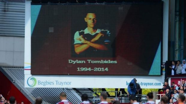 Tribute: West Ham bow their heads for young Australian player Dylan Tombides, who died following a three-year battle ...