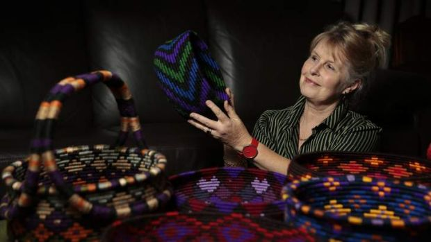 Artist Jenny Manning with some of her patterned containers and baskets that will form part of her exhibition Bowls, ...
