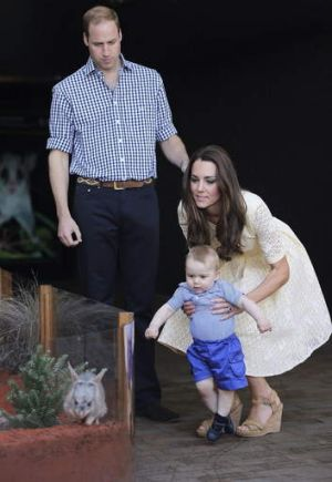 Prince William and Catherine, Duchess of Cambridge introduce their son Prince George to a Bilby - named George after him ...