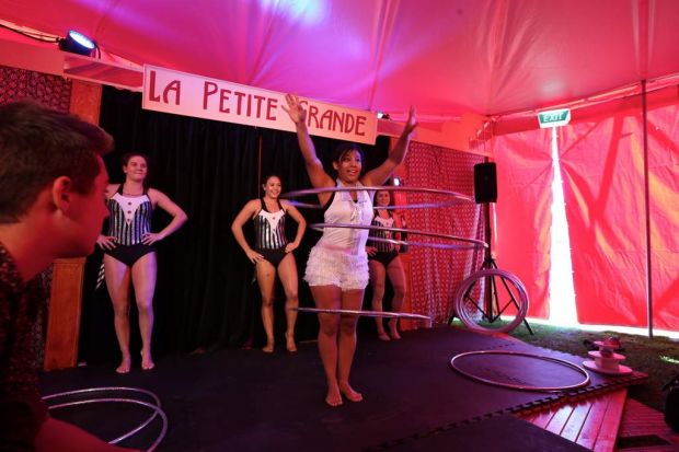 """Performers """" Circus Girls """" perform at Hoopla."""