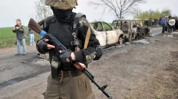 A checkpoint outside the town of Slaviansk, where three pro-Russian militants and one attacker were killed on Easter Sunday.