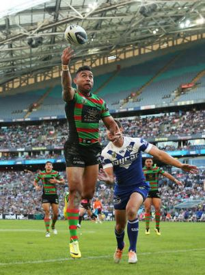 Holiday draw: A big crowd was on hand to watch Nathan Merritt's Rabbitohs and the Bulldogs on Good Friday.