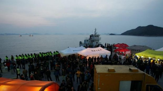 Jindo port in Jindo-gun, South Korea, where the rescue operation for the sunken ferry continues.