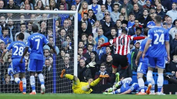 Sunderland's Connor Wickham, no. 10, celebrates scoring after a mistake by Mark Schwarzer.