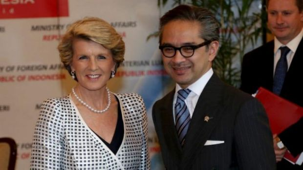 Indonesian Foreign Minister Marty Natalegawa (with his Australian counterpart Julie Bishop) has questioned the Abbott ...