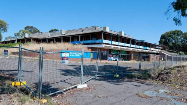 The abandoned Inn site next to the Jamison shopping centre, Canberra, pictured here in January 2013.