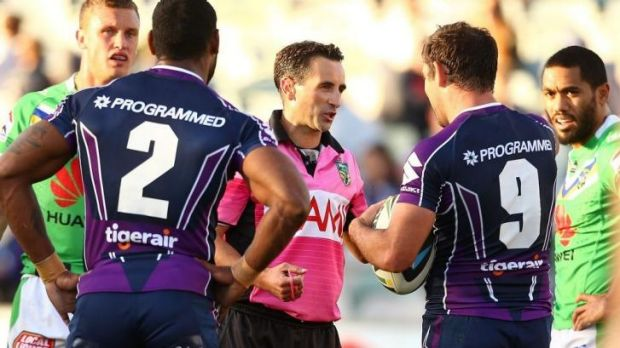 Correct decision: Melbourne Storm captain Cameron Smith, No. 9, debates the Sisa Waqa no try decision.