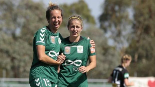 Sally Shipard with Ellie Brush during happier times at Canberra United.