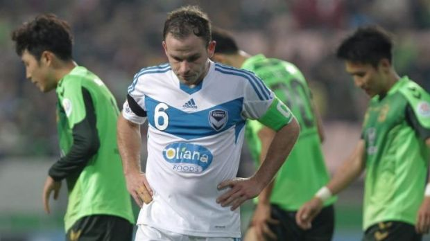 Leigh Broxham of Melbourne Victory reacts after the AFC Champions League Group G match against Jeonbuk Hyundai Motors ...