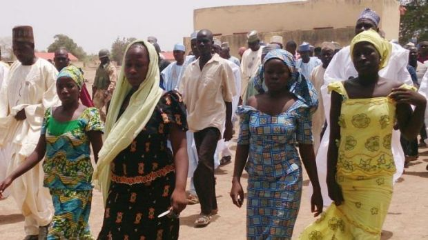 Brave escape ... these four female students of the Government Girls Secondary School in Chibok managed to escape from ...