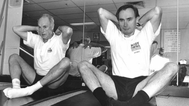 Bob Carr: working on his flat stomach.