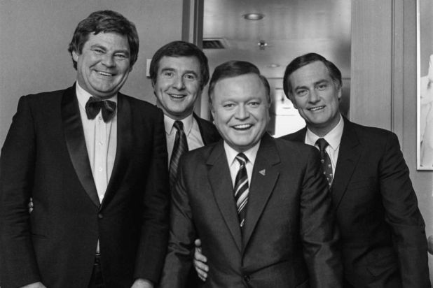From left to right: Graham Kennedy's gag writer, Mike McColl-Jones, Philip Brady, Bert Newton and Pete Smith.