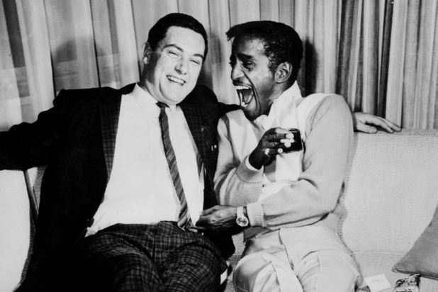 Sammy Davis Jnr., on his first visit to Australia in the '60s, with Pete Smith.