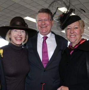 Gai Waterhouse with Premier Denis Napthine and his wife Peggy Napthine at the 2013 Warrnambool May Racing Carnival.