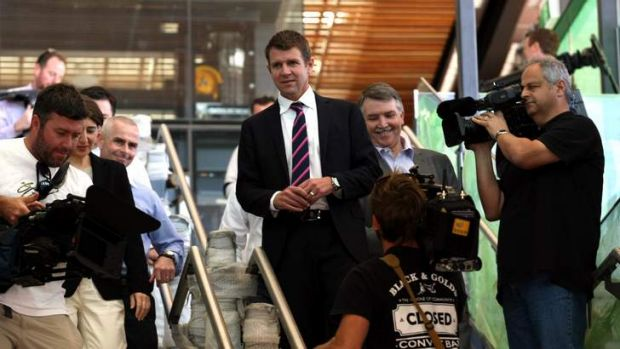 Premier Mike Baird  visits the new south-west rail link station at Leppington.