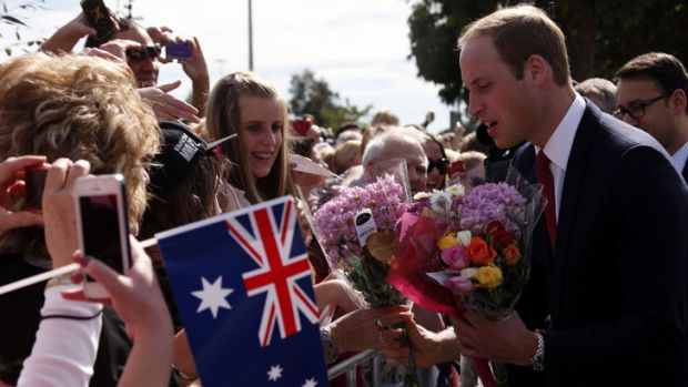 An enthusiastic welcome for Prince William.
