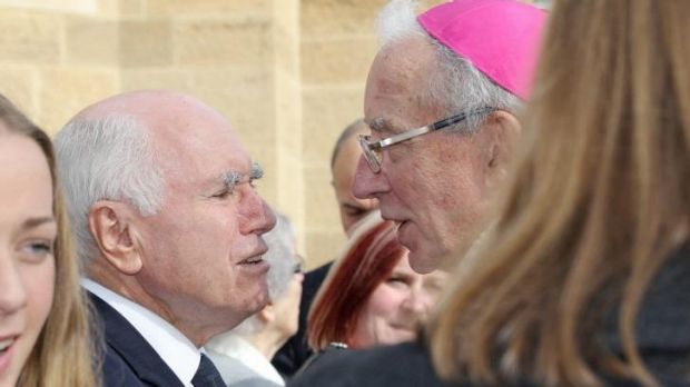 Former prime minister John Howard at the funeral for former senator Brian Harradine.