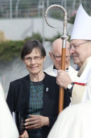 Widow Marian Harradine with Hobart Archbishop Julian Porteus.