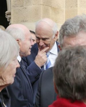 Former PM John Howard talks with former senator Richard Alston, who often negotiated with Brian Harradine.