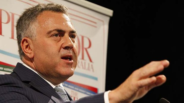 Warning signs: Joe Hockey speaks about challenges to the budget on Wednesday night at a Spectator Magazine function in ...