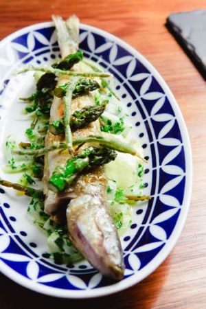 King George whiting with samphire and asparagus.