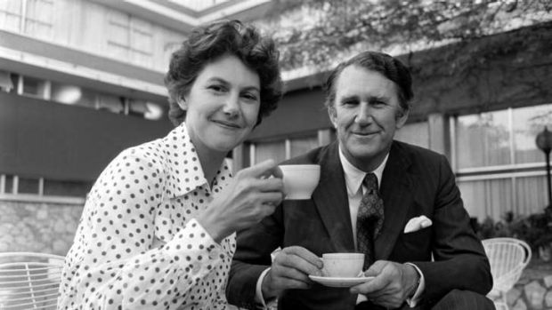 Post-coup cuppa: Fraser shares some tea with his wife, Tammy, in Canberra on November 12, 1975 - the day after the ...