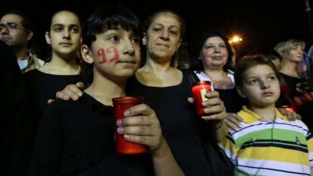 Remembrance: Armenians take part in a gathering to commemorate the 99th anniversary of the genocide in the Lebanese ...