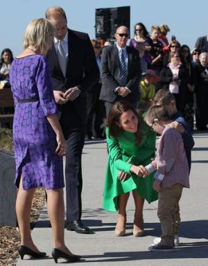 Royal encounter: Catherine, Duchess of Cambridge, greets twin brothers Oliver and Sebastian Lye, at the National ...