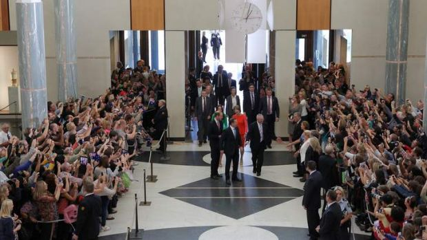 Phone cameras at the ready: The marble foyer at Parliament House was full of people hoping to catch a glimpse of the ...