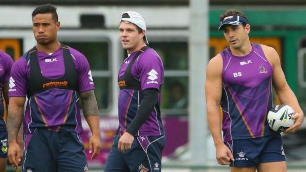 Melbourne trio: Ben Roberts, Ben Hampton and Billy Slater at training.