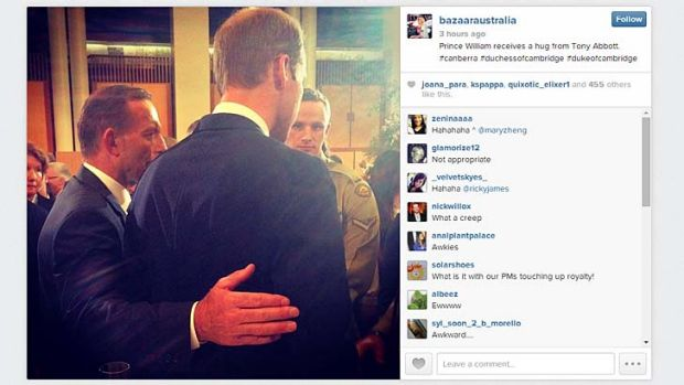 <i>Harper's Bazaar</i> Australia posted a photo on Instagram of Tony Abbott escorting Prince William today, breaking ...
