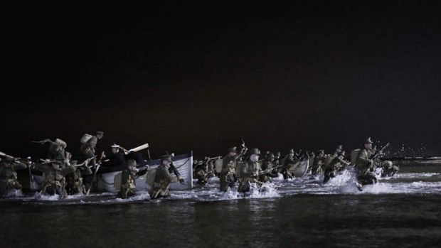 In this scene from the mini-series <i>Gallipoli</i>, ANZAC troops disembark on the Gallipoli peninsula in the early ...