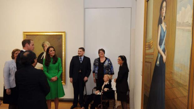 Catherine, Duchess of Cambridge and Prince William, Duke of Cambridge look at a portrait of HRH Crown Princess Mary of ...