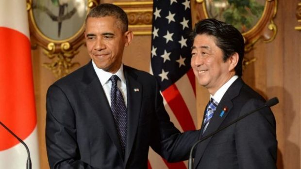 US President Barack Obama with Japanese Prime Minister Shinzo Abe.