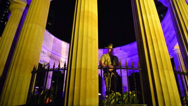A soldier at the Shrine of Rememberance.