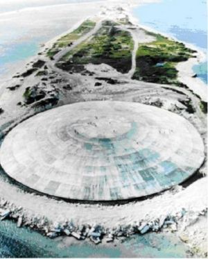 A vast concrete dome on Runit Island in the Marshall Islands, completed in 1979, covers the crater and 84,000 cubic ...