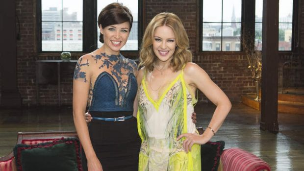 Sisterly show: Dannii and Kylie Minogue in an <i>X Factor</i> promo shot last year.