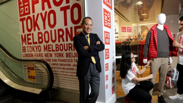 Uniqlo CEO, Shoichi Miyasaka at the Swanston Street pop up store.