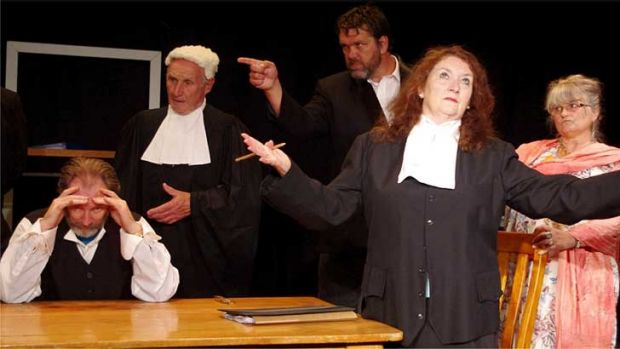 Tim Prosser, left, is C.Y. O'Connor in <i>The Trial of C.Y. O'Connor</i> with Norm Heath as the judge, Justin McAllister ...