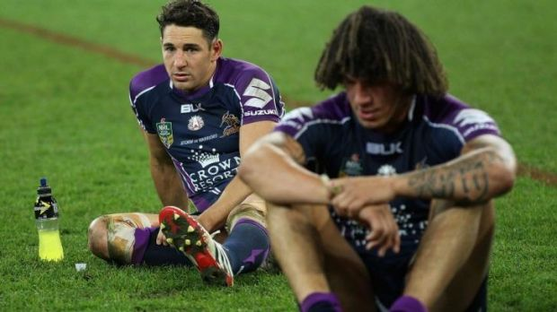 Billy Slater and Kevin Proctor after the loss to the Warriors.